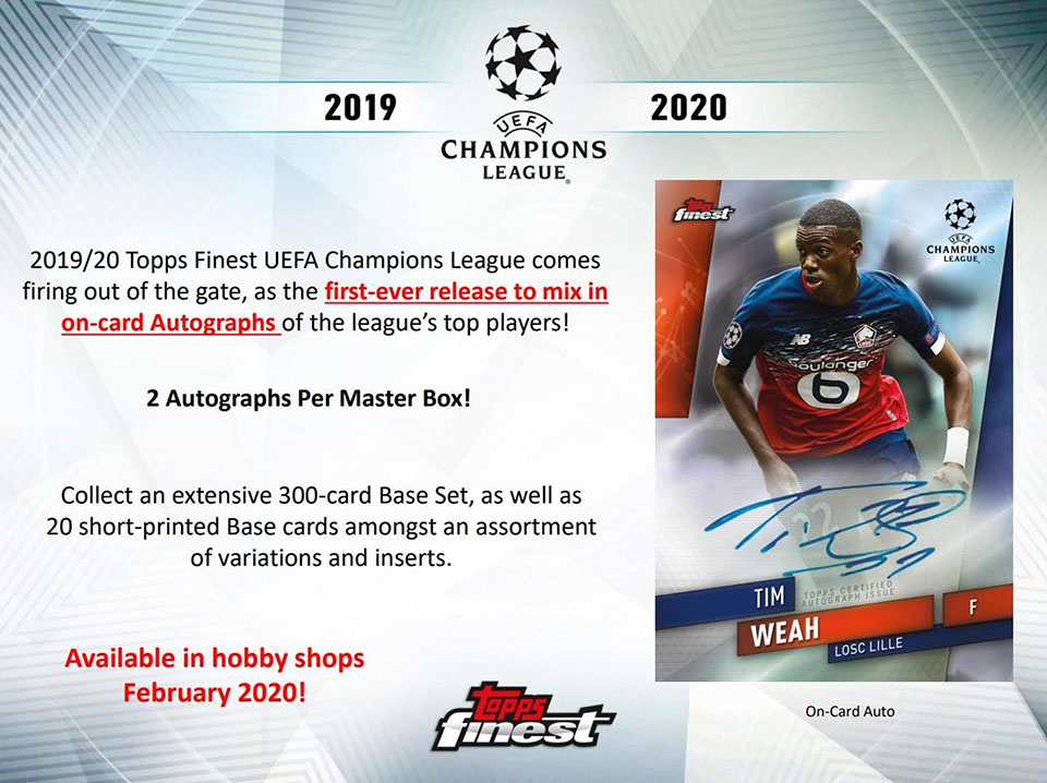 2019-20 Topps Finest UEFA Champions League Soccer