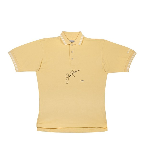 JACK NICKLAUS TOURNAMENT-WORN 2 COLLAR STRIPE POLO YELLOW